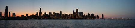 Chicago skyline at night panorama photo