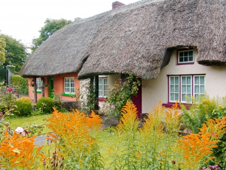 Typical Thatched roofed cottage in Ireland Stock Photo