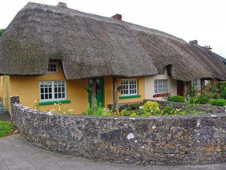 typical: Typical Thatched roofed cottage in Ireland, with stone wall