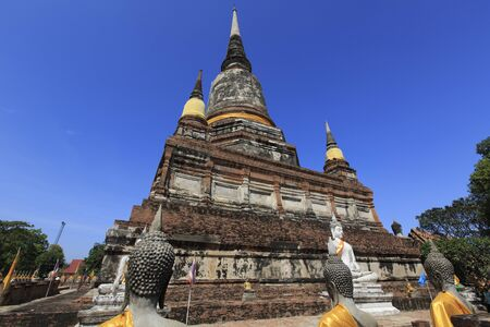 ajutthaya: Old Temple Architecture, Wat Yai Chai Mongkol at Ayutthaya, Thailand