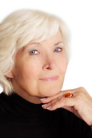 Senior lady portrait with hand and ring Stock Photo - 2223811