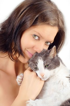 skintight: Young woman with her old cat skin-tight