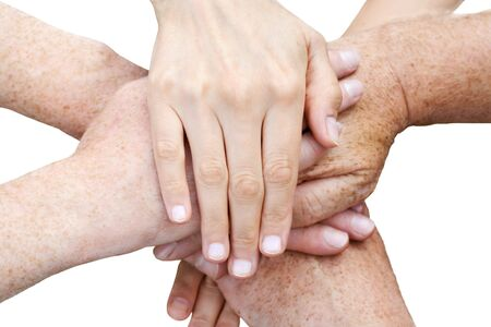 Six hands over each other on white background Stock Photo - 2580486