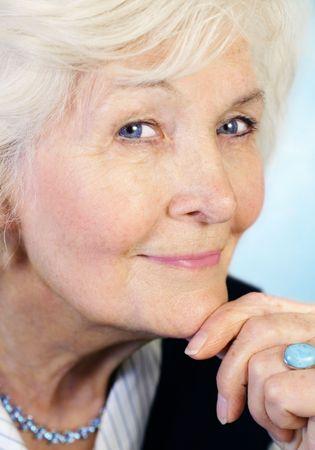 75s: Senior lady in halfprofile Stock Photo