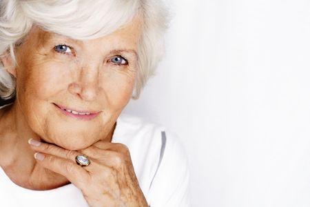Senior woman portrait on white Stock Photo