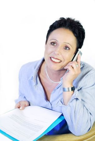 Business woman with telephone and documents on white Stock Photo - 3112404
