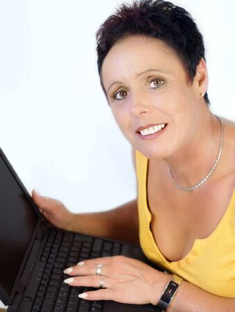 Mature woman with laptop Stock Photo - 3234936