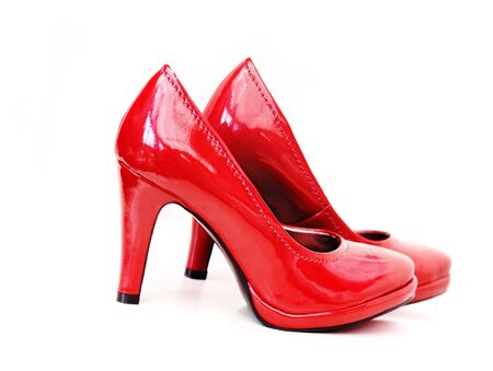 Red high heels on white background Stock Photo