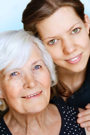 amiable:  Grandmother and granddaughter together for a portrait Stock Photo