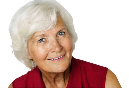 Senior lady portrait isolated on white