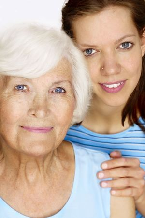 Elderly woman and young woman together for a portrait photo