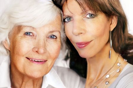 nearness: Senior mother and mature daughter portrait, 25 years between them