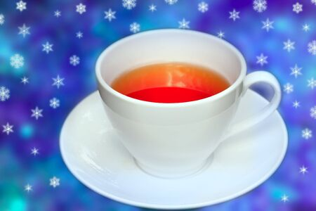 allover: Big cup of tea in front of blue background with stars allover