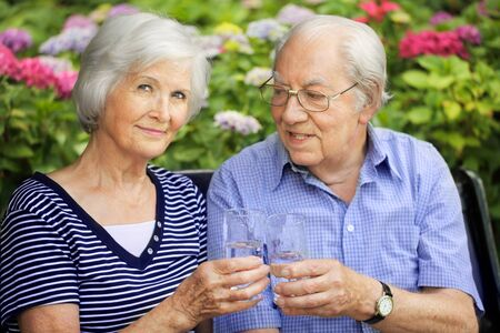 clink: Happy senior couple sitting in the garden to clink glasses