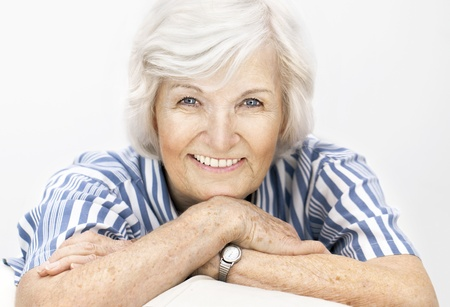 gracious: Senior woman portrait, on white background with white hair ,smiling happy to camera