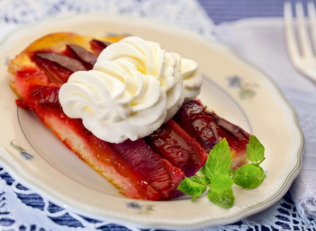 One piece of plum cake on a plate photo