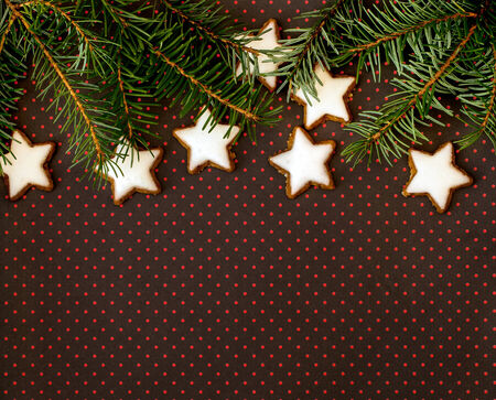 christmasbackground: Christmas background with twig of fir tree and cinnamon stars on brown background with dots