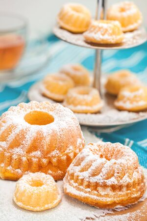 Teatime with small and bigger pound cakes Stock Photo