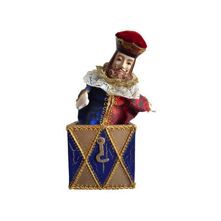 jack in a box: Jack in the box with King of deck of cards as puppet  Stock Photo