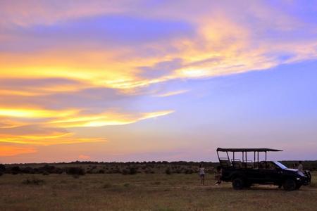 the jeep: Safari Sunset Stock Photo