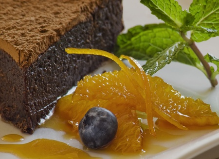 Chocolte hazelnut cake with garnish Stock Photo - 8278833