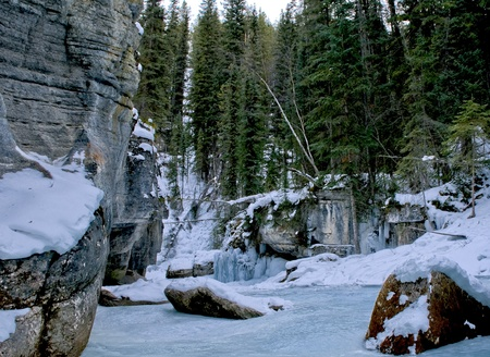 Maligne canyon in winter photo