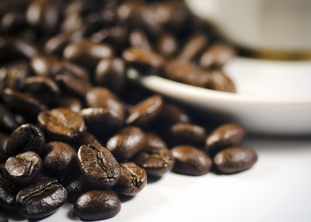 coffe beans laid on saucer cup Stock Photo - 8278853