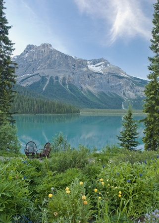 emerald lake in british columbia Stock Photo