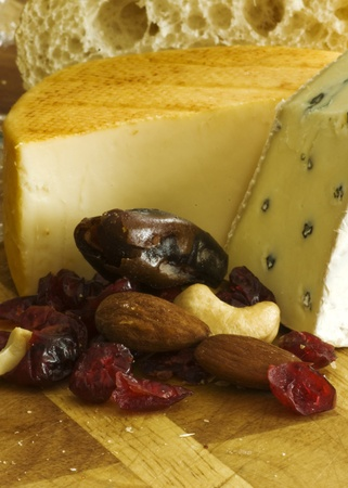 cheese and dried fruit Stock Photo