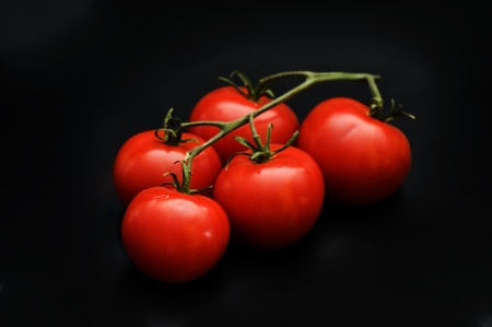 red tomato on dark background