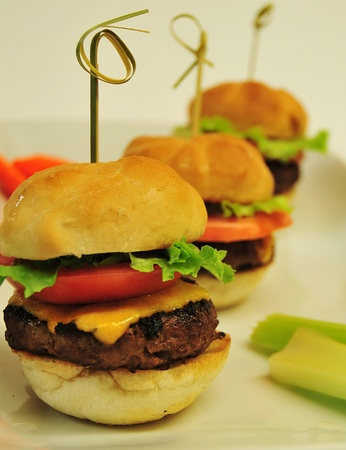 mini burgers close up