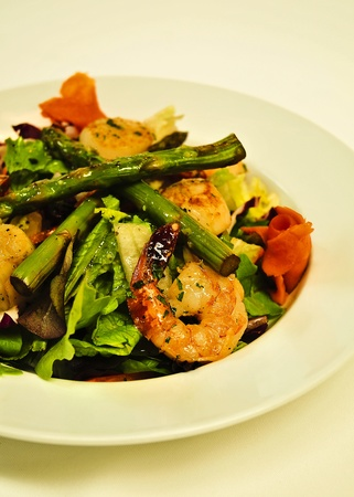 shrimp salad with asparagus Stock Photo