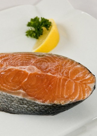 close up of atlantic salmon steak