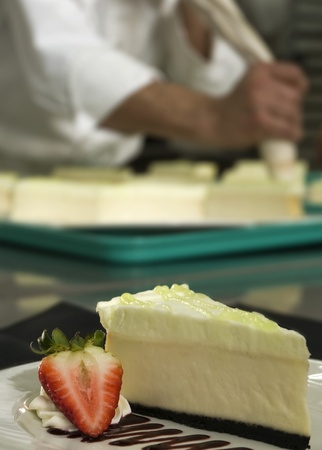 Plated key lime cheese cake