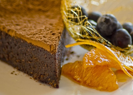 Chocolate hazelnut cake garnished with oranges Stock Photo