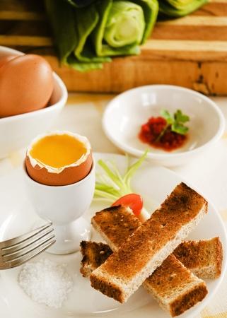 Boiled egg breakfat photo