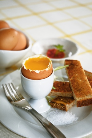 Close up of breakfast eggs photo