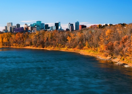 view of edmonton on a sunny fall day from the east side 写真素材