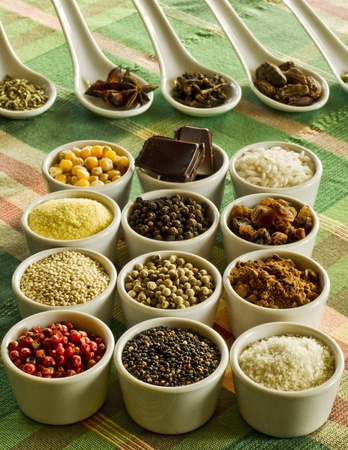 assorted grains and spices Stock Photo