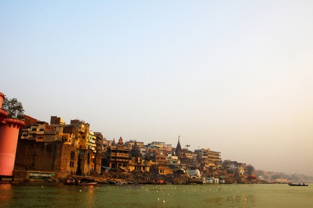ganges: Early morning sunrise panorama of the serene river Ganges near Varanasi, India Stock Photo