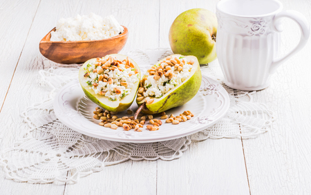 pine nuts: Delicious breakfast of pears with cheese, celery, pine nuts