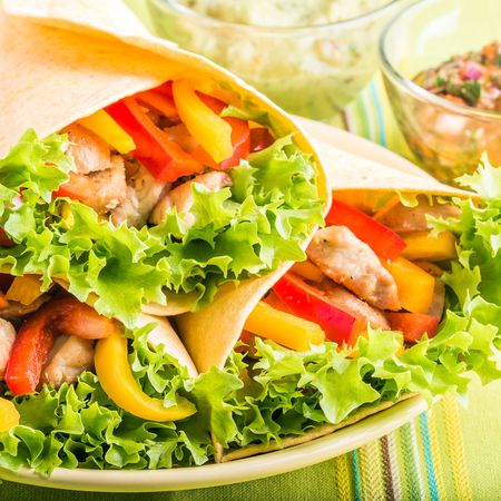tortilla wrap: Grilled Chicken in a Tortilla Wrap with Lettuce and Pepper