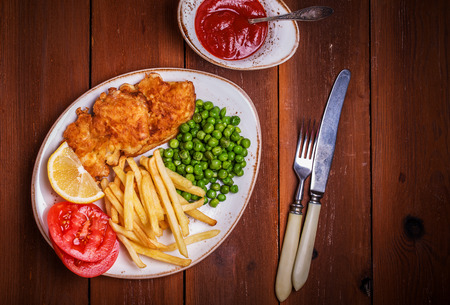 british cuisine: Fish and chips - a traditionally English cuisine.