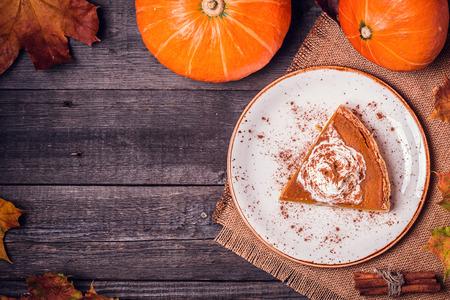 Homemade Pumpkin Pie for Thanksgiving. Top view.