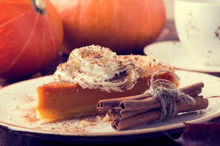 Homemade Pumpkin Pie for Thanksgiving. Selective focus. 写真素材