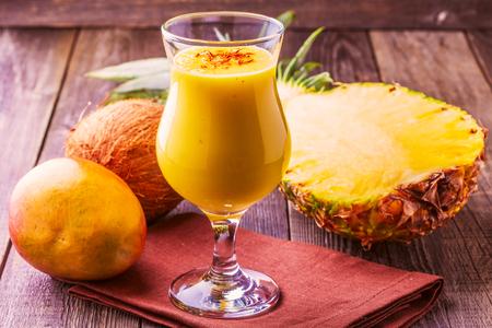 milkshake: Tropical milkshake with ingredients, selective focus.