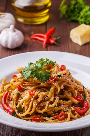 linguine pasta: Homemade linguine pasta in arrabbiata sauce, served with parmesan and parsley.