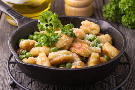green pea: Homemade Italian Gnocchi with green pea and ?heese.