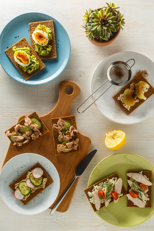 fillings: Healthy sandwiches with various fillings on crisp rye bread, top view.
