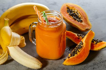 Papaya smoothie, selective focus. Detox, diet food, vegetarian food, healthy eating concept.